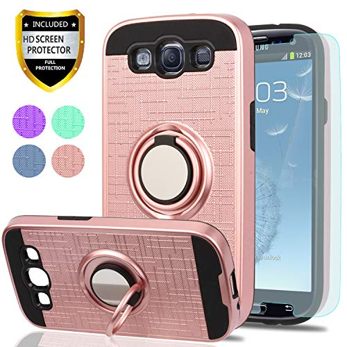 S3 Case,Galaxy S3 Phone Case with HD Screen Protector, YmhxcY 360 Degree Rotating Ring & Bracket Dual Layer Shock Bumper Cover for Samsung Galaxy S3 S III I9300 GS3 All Carriers-ZH Rose Gold