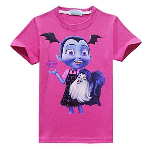 WNQY Vampirina Little Girl's Printed Princess Cartoon T-Shirt (Rose,130/6-7Y)