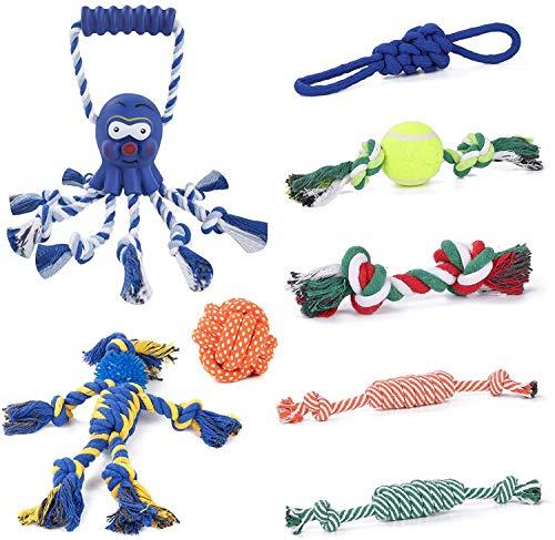 Joyoldelf Hundespielzeug, Welpenspielzeug, 8 Haltbare Welpen-Kauspielzeuge zum Reinigen der Zähne, Hundespielzeug 100…