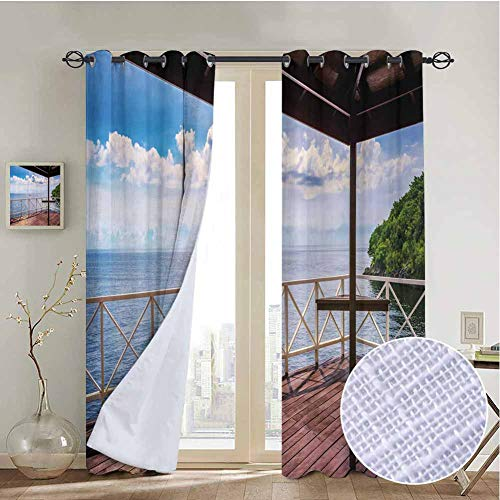 vanfanhome Trinidad Tobago Island Curtain Set, Printing Curtains Microfiber 3 Layers High Density & Noise Reduction Fabric, Living Room Bedroom Window Drapes(2 Panels, 54x108 Inch) (Living Room Sets For Sale In Trinidad)
