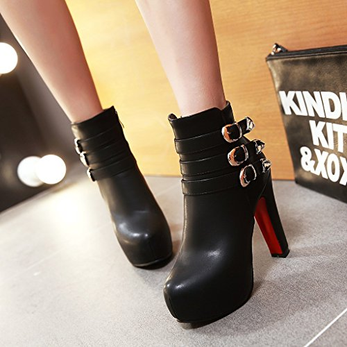 Heel Show Shine High Boots Ankle Buckles Women's High Black Dress 7qxIrWwqUB