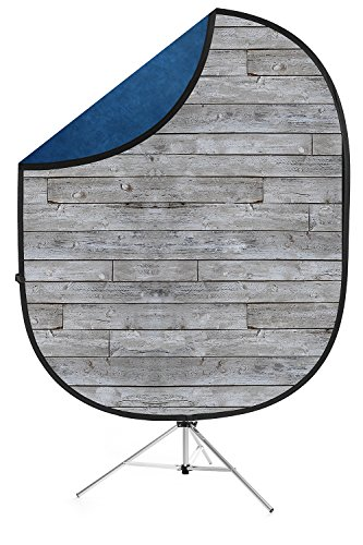 Savage Gray Pine/Blue Collapsible Backdrop, 5' W x 7' H w/ 8' Aluminum Stand
