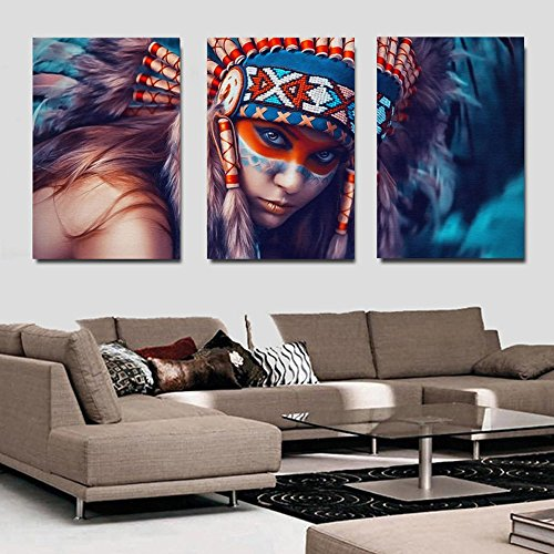 3Pcs/set Modernism Abstract Canvas Art Feathers Native Americans Feathers Painting Print on Canvas Wall