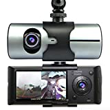 Indigi® Car Blackbox DVR DashCam Double Camera (Front+Rear) Driving Recorder GPS Tracker
