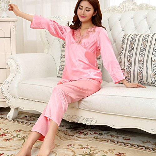 (MOXIN Couples pajamas silk autumn and winter men and women suits long sleeves home service thin section , female models l , 5)