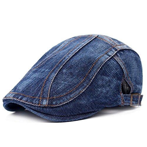 WETOO Flat Cap Hats for Men Newsboy Cabbie Hat Ivy Hunting - Cap Ivy Denim