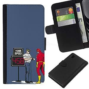 KLONGSHOP // Tirón de la caja Cartera de cuero con ranuras para tarjetas - Divertido Perno Superhero flash - Sony Xperia Z1 L39 //