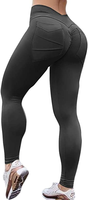 WHSHINE High Waisted Lift Ruched Butt Yoga Pants Booty Lifting Anti Cellulite Textured Scrunch Workout Leggings for Women