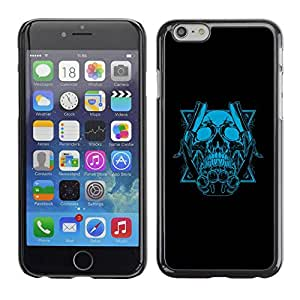 Caucho caso de Shell duro de la cubierta de accesorios de protección BY RAYDREAMMM - Apple iPhone 6 - Blue Skull & Blades