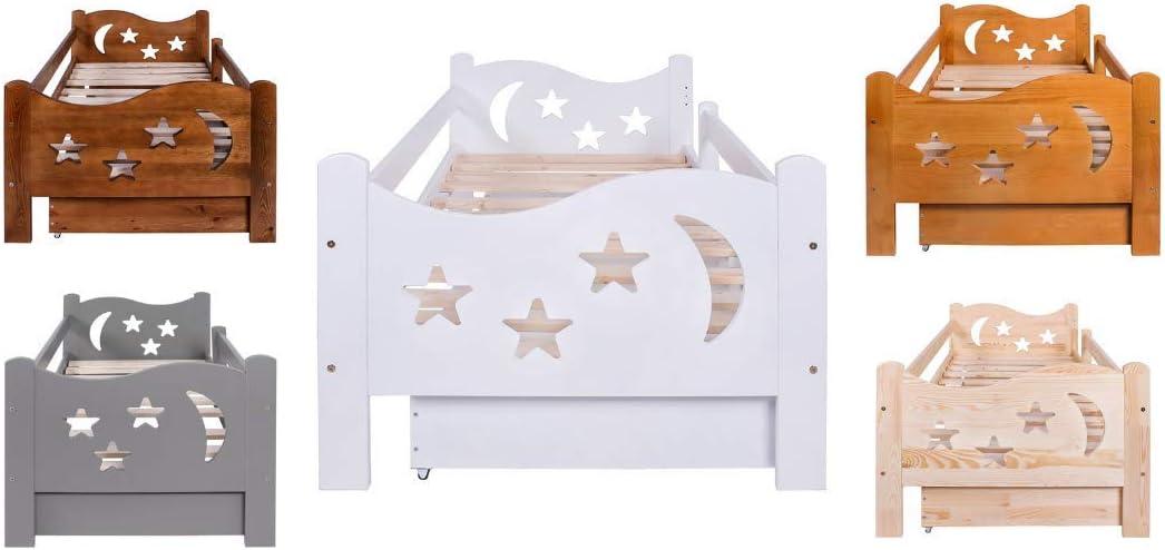 LULU MÖBEL Chrisi - Cuna completa con colchón 70 x 140 o 80 x 160 cm, somier de láminas de madera y cajón, para niños a partir de 2 años para niñas, ...