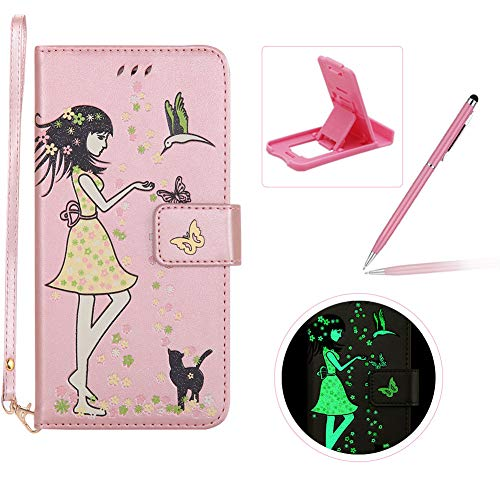 Herzzer Strap Wallet Leather Case for Galaxy J3 2018,Luminous Flip Cover for Galaxy J3 2018, Stylish Rose Gold Flower Girl Butterfly Pattern Magnetic Stand PU Leather with Soft Rubber Case