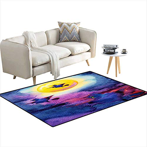Kids Carpet Playmat Rug Witch Flying on Night Sky Halloween Yellow Full Moon Party backgrounwatercolor Painting Handrawn 48