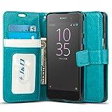 Xperia E5 Hülle, J&D [Handytasche mit Standfuß] [Slim Fit] Robust Stoßfest Aufklappbar Tasche Hülle für Sony Xperia E5 - Türkis