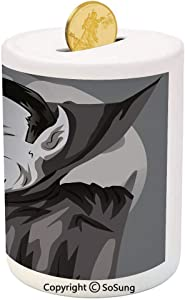 Vampire Ceramic Piggy Bank,Cartoon Style Count Dracula Angry Look Evil Expression Gothic Horror Monster Decorative 3D Printed Ceramic Coin Bank Money Box for Kids & Adults,Grey Black White