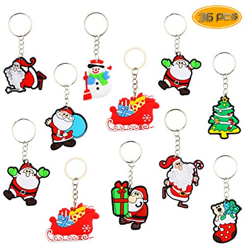 BeautyMood 36 Pcs Santa Claus Cartoon Keychain PVC Soft Keychain Cartoon Key Pendant Creative Key Ring Small Gift For Christmas.