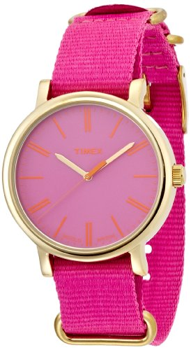 Timex Women's Quartz Watch with Pink Dial Analogue Display and Pink Nylon Strap T2P364PF (Womens Timex Pink)