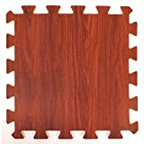 Wood Effect Interlocking Foam Mats - Perfect for Floor Protection, Garage, Exercise, Yoga, Playroom. Eva foam (9 tiles, Chocolate Brown)
