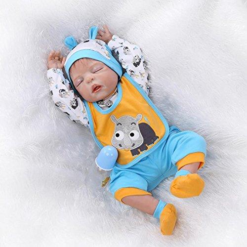 Durable Silicone Reborn Baby Sleeping Newborn Boy Alive Doll 23inch Bath Nursing Toy Women