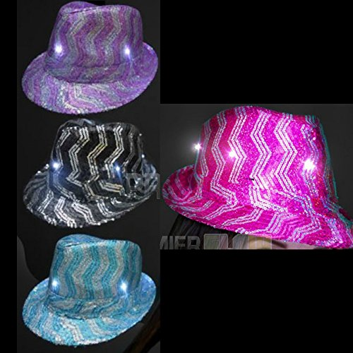 Light Up Flashing Chevron Striped Sequin Fedora Hat - 12 Pack - Tons of Fun for That Party!]()