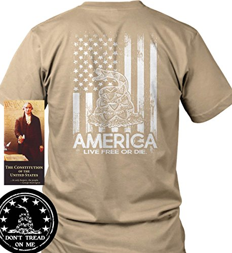 Don't Tread on Me. Live Free Die. Rattlesn Tan/3XL Port & Co. T-Shirt. from Sons Of Liberty