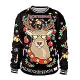 WSJ Traje Feliz De La Navidad, Ropa Hermosa De La Navidad 2018, Patrón del Reno, Impresión Digital, Suéter De Cuello Alto (M-XXL),XXL