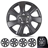 Wheel Guards - (4 Pack) Hubcaps for Car Accessories Wheel Covers Snap Clip-On Auto Tire Rim Replacement for 16 inch Wheels 16' Hub Caps (Matte Black 1021)