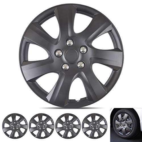 Wheel Guards - (4 Pack) Hubcaps for Car Accessories Wheel Covers Snap Clip-On Auto Tire Rim Replacement for 16 inch Wheels 16