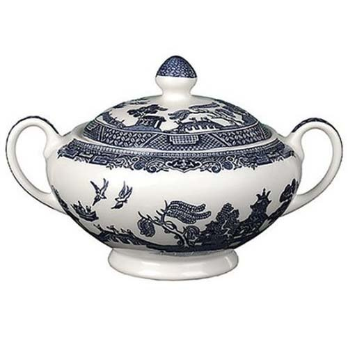 low Blue Covered Sugar Bowl (English Blue Willow)