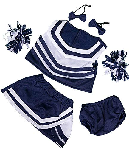 Teddy Bear Navy (Stuffems Toy Shop Navy & White Cheerleader Uniform Teddy Bear Clothes Outfit Fits Most 14