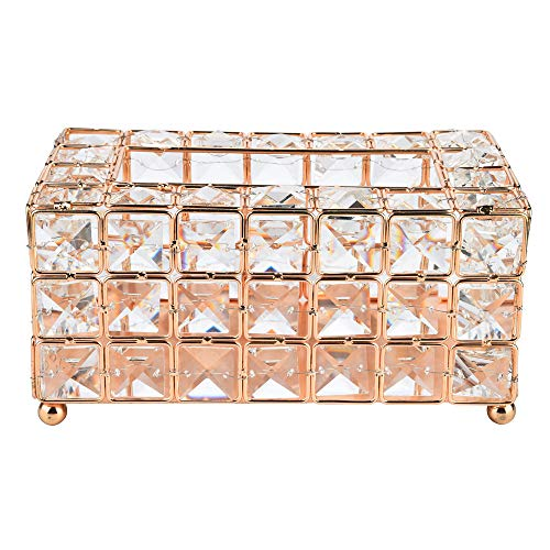 - ASfairy Handmade Square Crystal Tissue Box Rectangular Holder for Storage on Bathroom Vanity, Countertop, Bedroom Dresser, Night Stand, Desk, Table Tissue Tray (Gold)