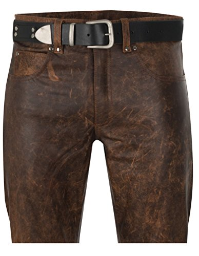 Mens Antique Brown 5 Pocket Leather Jeans Pant SouthBeachLeather (Natural Waist At Belly - 38)