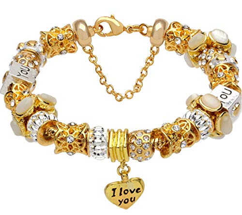 White crystal beads I LOVE YOU heart pendant gold-tone charm complete beaded - Beaded Heart Pendant