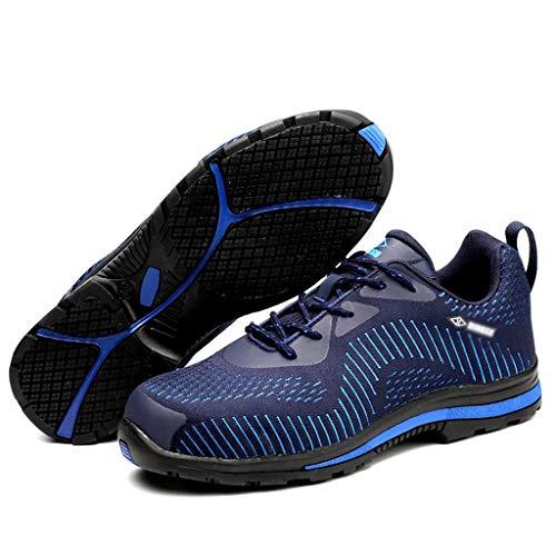 YXWa Botas para Hombres Zapatos de Seguridad Laboral Zapatos de Hombre, Ligeros, Transpirables, Ligeros, a Prueba de pinchazos (Color: Azul, tamaño: 35-47) ...