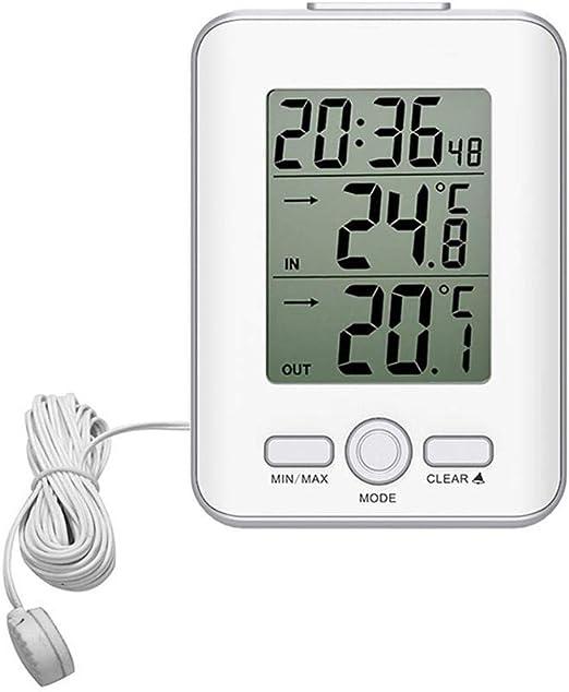Funihut Termómetro Digital, termómetro Digital, 3 m câblé-sonde termómetro con sonda termómetro termómetro Digital Reloj con Funciones de Pantalla Digital para Interior y Exterior: Amazon.es: Hogar