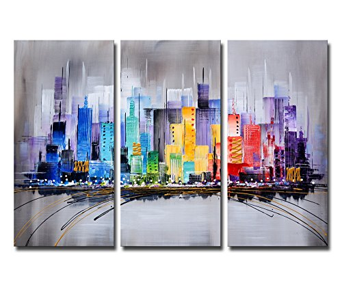 """ARTLAND Modern 100% Hand Painted Framed Wall Art \""""Colorful City\"""" 3-Piece Gallery-Wrapped Abstract Oil Painting on Canvas Ready to Hang for Living Room for Wall Decor Home Decoration 24x36inches"""