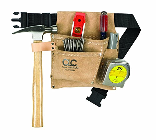 CLC Custom Leathercraft IP489X Suede Tool Bag & Poly Web Belt, 3 Pocket -