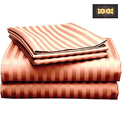 "ESSEU 300 Thread Count 100% Cotton Sheet Set, Dobby Stripe, Soft Sateen Weave,Queen Sheets, Deep Pockets,Home Collection,Luxury Bedding Super Sale 100% Cotton (King, Burgandy) - HIGH QUALITY. Woven from the finest Cotton Yarns to ensure super soft luxurious sheets which are breathable and long-lasting with a specialized finishing process to enhance the softness of the fabric. Product Dimension: Flat sheet 81"" x 96"", Fitted seet54"" x76"" x 15"", standard pillowcase 20"" x 30"" GUARANTEE. OUR USP -100% Cotton Sheets. We specialize in manufacturing some of the softest and most luxurious cotton sheets in the industry. And that includes our top of the line products - our 100%cotton sheets. A genuine 100% cotton sheet set crafted from the finest cotton yarns. No misleading Title or Description. Unbeatable prices. Fabric Composition: 100% Cotton, Thread Count: 300TC, Weave: Plain Sateen CLASSIC TAILORED LOOK WITH DEEP POCKETS. Set includes: One flat sheet, one fitted sheet and two pillowcases.Comes in many attractive colors to suit your bedroom décor. Fully elasticized fitted sheets with 15 inch deep pockets are generously sized to fit extra deep and pillow-top mattresses.Item in the Box: 1 Flat Sheet, 1 Fitted Sheet, 2 Standard PillowcasesNumber of Pieces: 4, Product Weight: 2.300 kgs - sheet-sets, bedroom-sheets-comforters, bedroom - 51NHk4SfuGL. SS400  -"