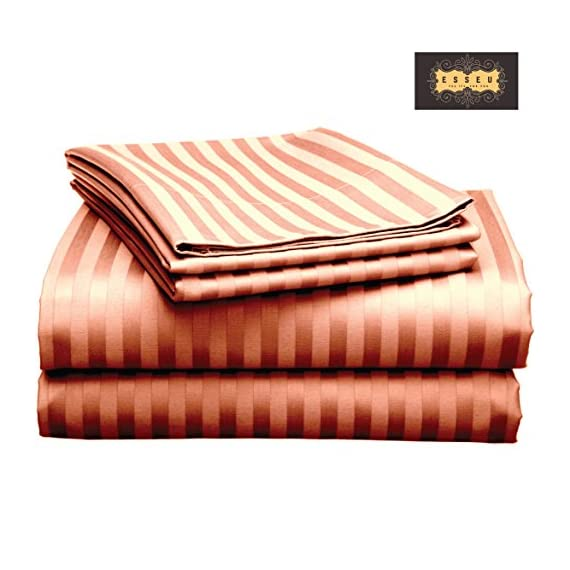 """ESSEU 300 Thread Count 100% Cotton Sheet Set, Dobby Stripe, Soft Sateen Weave,Queen Sheets, Deep Pockets,Home Collection,Luxury Bedding Super Sale 100% Cotton (King, Burgandy) - HIGH QUALITY. Woven from the finest Cotton Yarns to ensure super soft luxurious sheets which are breathable and long-lasting with a specialized finishing process to enhance the softness of the fabric. Product Dimension: Flat sheet 81"""" x 96"""", Fitted seet54"""" x76"""" x 15"""", standard pillowcase 20"""" x 30"""" GUARANTEE. OUR USP -100% Cotton Sheets. We specialize in manufacturing some of the softest and most luxurious cotton sheets in the industry. And that includes our top of the line products - our 100%cotton sheets. A genuine 100% cotton sheet set crafted from the finest cotton yarns. No misleading Title or Description. Unbeatable prices. Fabric Composition: 100% Cotton, Thread Count: 300TC, Weave: Plain Sateen CLASSIC TAILORED LOOK WITH DEEP POCKETS. Set includes: One flat sheet, one fitted sheet and two pillowcases.Comes in many attractive colors to suit your bedroom décor. Fully elasticized fitted sheets with 15 inch deep pockets are generously sized to fit extra deep and pillow-top mattresses.Item in the Box: 1 Flat Sheet, 1 Fitted Sheet, 2 Standard PillowcasesNumber of Pieces: 4, Product Weight: 2.300 kgs - sheet-sets, bedroom-sheets-comforters, bedroom - 51NHk4SfuGL. SS570  -"""