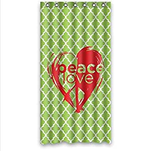 Beautiful Peace Love And Green Moroccan Tile Quatrefoil Custom 100% Polyester Waterproof Shower Curtain 36 x 72