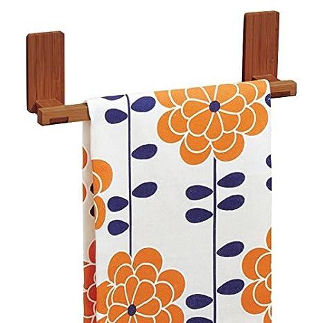 mDesign AFFIXX Toallero de bambú para colgar en pared, sin taladro - Soporte ideal como