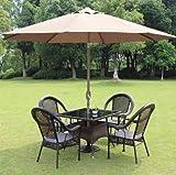 kitchenlover 8′ ft Patio Umbrella Aluminum Crank Tilt Table Market Outdoor Yard Beach Tan Review