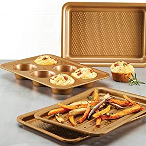 Ayesha Curry 47704 Nonstick Bakeware Toaster Oven Set with Nonstick Baking Pan, Cookie Sheet / Baking Sheet and Muffin Pan / Cupcake Pan – 4 Piece, Copper Brown