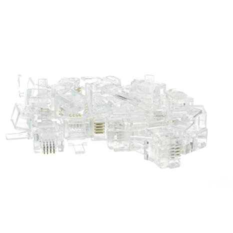 6P4C Phone// Data RJ11 Crimp Connectors for Stranded Wire 100 Pieces
