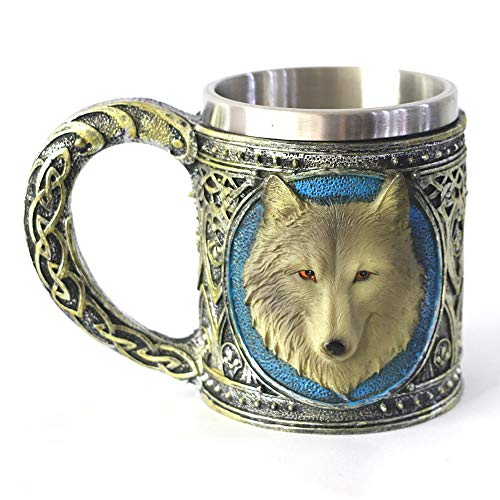 Stein Pimp Cup - GOT Lone Wolf Beer Mug with Stainless Steel Liner Gothic Drinking Cup Beer Stein Supplies Collections
