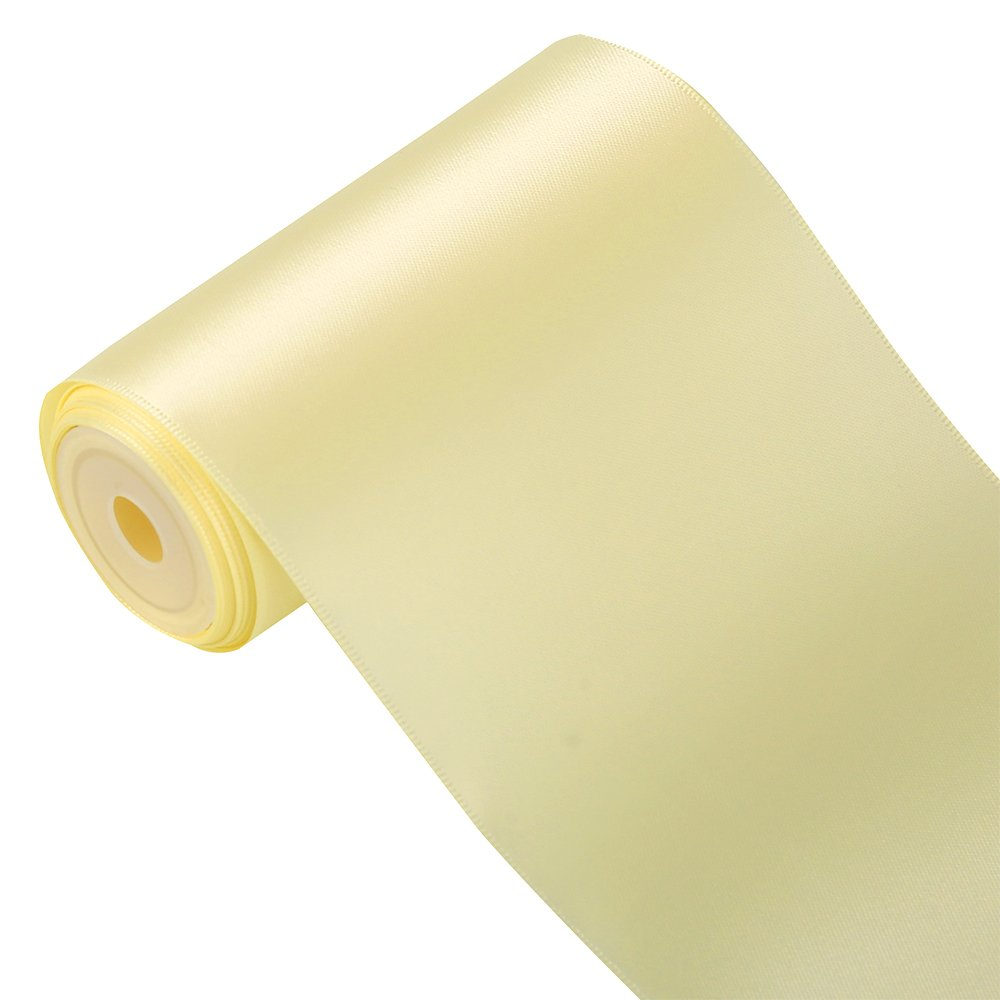 LaRibbons 4 inch Wide Solid Color Double Face Satin Ribbon Great for Chair Sash- 5 Yard/Spool (White)