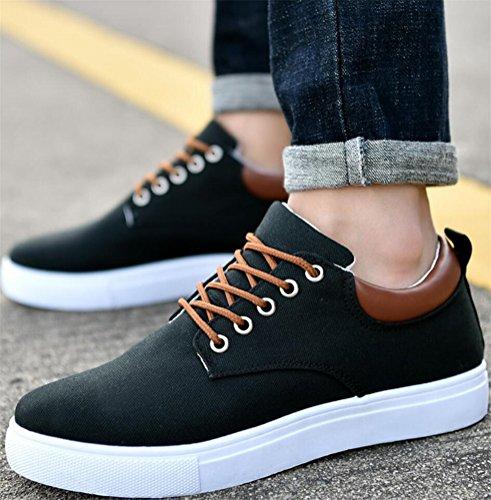 Chaussures De Toile Satuki Pour Les Hommes, Lacets Doux Occasionnels Sport Léger Sneakers De Mode Noir