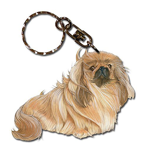 Pekingese Wooden Dog Breed Keychain Key Ring