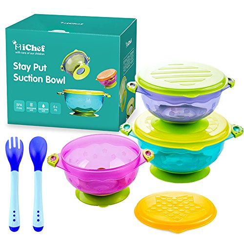 MICHEF Stay Put Suction Bowl, Spill Proof, Baby Bowls with Snap Tight Lids, Baby Gift Set of 3 Count, and 2 Hot Safe Spoon and Fork, Perfect for Babies & Toddlers BPA & BPS Free FDA Approved - Less Mess Toddler Bowl