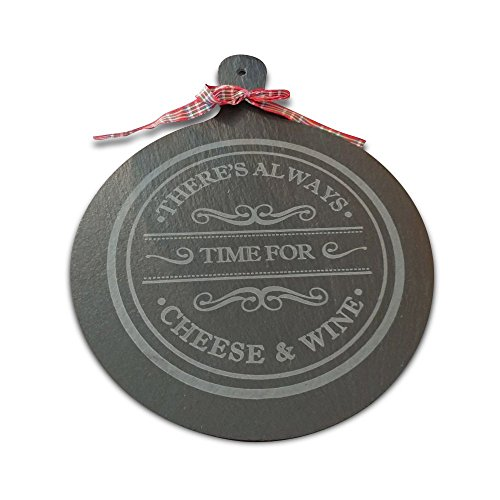 Instill Round Slate Cheese Serving Tray Dessert Cookie Steak Board Platter Paddle - 9'' Diameter - Natural, Organic in Gift Packaging with Soap Stone Chalk by Instill