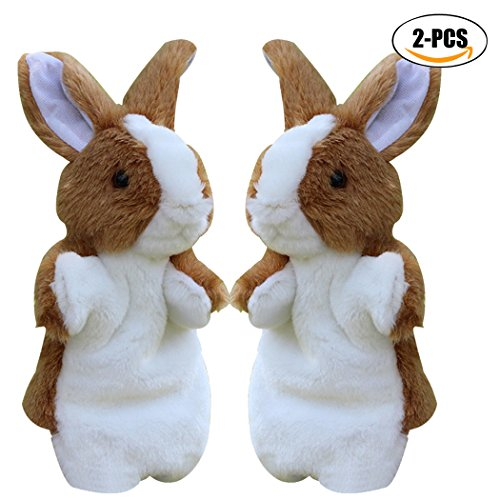 Easter Bunny Puppet (Rabbit Plush Puppet, Coxeer 2Pcs Animal Toys Cute Rabbit Hand Puppets Easter Bunny Toys for Kids)